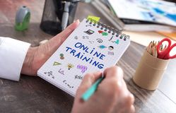 Online training concept on a notepad. Online training concept drawn on a notepad Royalty Free Stock Images