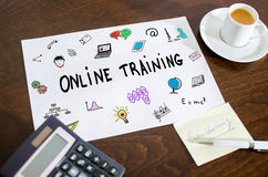 Online training concept on a paper. Placed on a desk Royalty Free Stock Images
