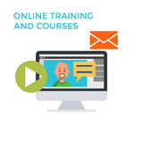 Online Training Courses Icon. Flat design Monitor. Vector Royalty Free Stock Photos