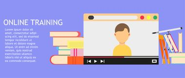Online training education business technology. College web library course vector. Webinar video icon flat service school concept s. Tudy. Elearning digital royalty free illustration