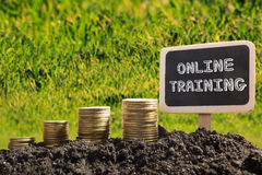 Online Training. Financial opportunity concept. Golden coins in soil Chalkboard on blurred urban background Royalty Free Stock Photo