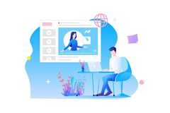 Online training flat design. a man`s character is sitting at desk studying online with online course and online examination vector illustration