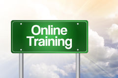 Online Training Green Road Sign Stock Images