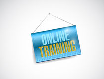 Online training hanging banner illustration Royalty Free Stock Photos