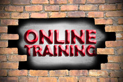 Online training in the hole of brick wall Royalty Free Stock Image