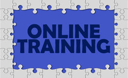 Online training with jigsaw border Royalty Free Stock Photography