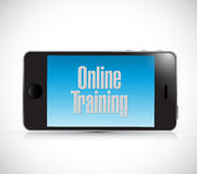Online training phone text sign Stock Photo
