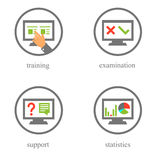 Online training and testing icons Stock Photography