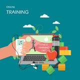 Online training vector flat style design illustration. Online training concept vector flat style design illustration. Laptop with video exercise class, dumbbells vector illustration