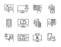 Online training vector illustration icon collection set. Distance internet e learning concept with computer, tablet or phone. Online training vector vector illustration