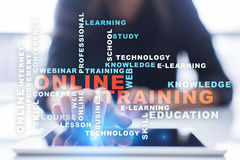 Online training on the virtual screen. Education concept. Words cloud. Royalty Free Stock Images