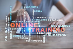 Online training on the virtual screen. Education concept. Words cloud. stock image