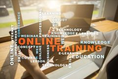 Online training on the virtual screen. Education concept. Words cloud Stock Images