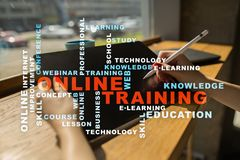 Online training on the virtual screen. Education concept. Words cloud. Royalty Free Stock Photo