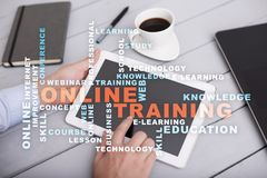 Online training on the virtual screen. Education concept. Words cloud. Royalty Free Stock Image
