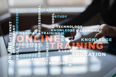 Online training on the virtual screen. Education concept. Words cloud. Stock Photography