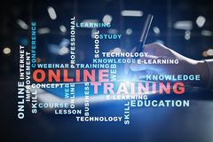 Online training on the virtual screen. Education concept. Words cloud Stock Image