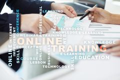 Online training on the virtual screen. Education concept. Words cloud Royalty Free Stock Images