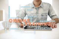 Online training on the virtual screen. Education concept. Words cloud. Online training on the virtual screen. Education concept. Words cloud stock image