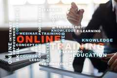 Online training on the virtual screen. Education concept. Words cloud. Online training on the virtual screen. Education concept. Words cloud stock photography