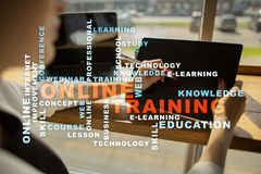 Online training on the virtual screen. Education concept. Words cloud. Online training on the virtual screen. Education concept. Words cloud royalty free stock image