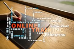 Online training on the virtual screen. Education concept. Words cloud. Online training on the virtual screen. Education concept. Words cloud royalty free stock photos