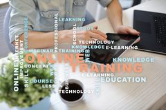 Online training on the virtual screen. Education concept. Words cloud. Online training on the virtual screen. Education concept. Words cloud royalty free stock photo