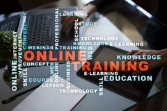 Online training on the virtual screen. Education concept. Words cloud. Online training on the virtual screen. Education concept. Words cloud royalty free stock photography