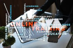 Online training on the virtual screen. Education concept. Words cloud. Online training on the virtual screen. Education concept. Words cloud stock photos