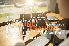 Online training on the virtual screen. Education concept. Words cloud. Online training on the virtual screen. Education concept. Words cloud stock photo