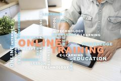 Online training on the virtual screen. Education concept. Words cloud. Online training on the virtual screen. Education concept. Words cloud stock images