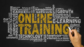 Online training word cloud Royalty Free Stock Photos