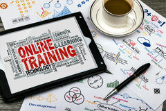 Online training word cloud Royalty Free Stock Photo