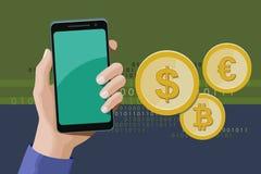 Online-transaktioner genom att anv?nda en smartphone arkivfoton