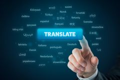Online translator. And language e-learning course concept. Computer user press button with text translate and most important world languages royalty free stock photo