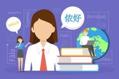 Online translator. Translate foreign language fast and easy. Online translator in mobile phone or another device. Translate foreign language fast and easy royalty free illustration