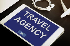 Online travel agency contact now on your Tablet or mobile devices. Stock Image