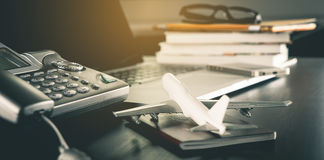 Online Travel Agency service office table Royalty Free Stock Images