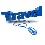 Online travel in blue Stock Image