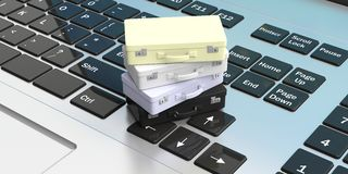 Online travel booking concept.Suitcases on a computer keyboard. 3d illustration Stock Photos