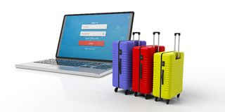 Three bright colors suitcases and a computer laptop isolated on white background. 3d illustration vector illustration