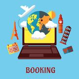 Online travel and booking flat concept Royalty Free Stock Photo