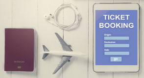 Online Travel booking on Tablet. Royalty Free Stock Images