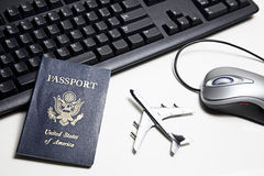 Online travel concept still life Stock Photo