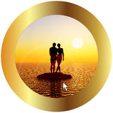 Online travel for honeymoon. Symbol for online booking, one mouse click away stock illustration