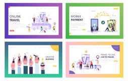 Online Travel Landing Page Set. Visit World in Smartphone. Make Mobile Payment, Buy Something over Internet and Develop. Creative Business Website or Web Page vector illustration