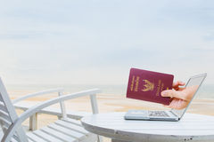 Online travel reservation Stock Photography