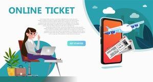 Online travel store, online ticket booking vector illustration