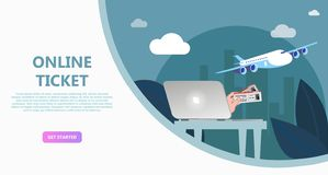 Online travel store, online ticket booking. Buying air tickets from home using your phone, tablet, computer. E-shopping concept. Use for landing page, template stock images