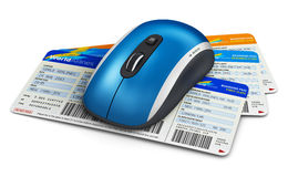 Online travel tickets booking. Creative abstract business travel and web online air tickets booking technology internet concept: wireless computer PC mouse and Stock Photos